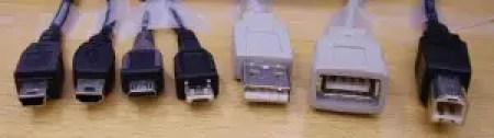 Mini-B, Mini-A, Micro-B, Micro-A, Standard A, Standardi A-Female, Standard B