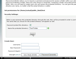 cpanel password protect directories
