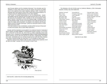 Birding in Venezuela sample page