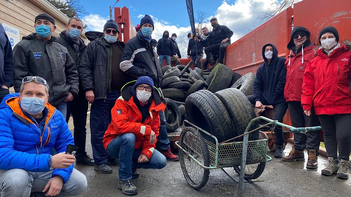 pneus repêchés dans le Grand Large
