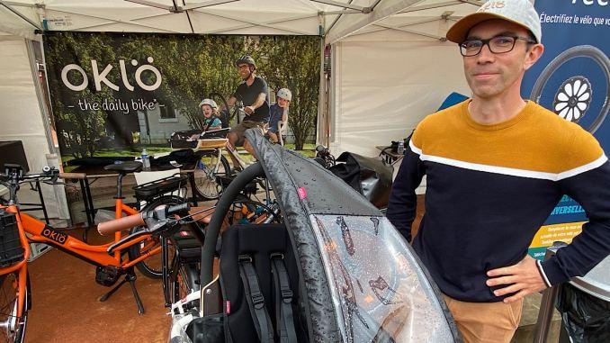 Bruno Chériaux dirigeant de Oklö et son vélo-cargo compact