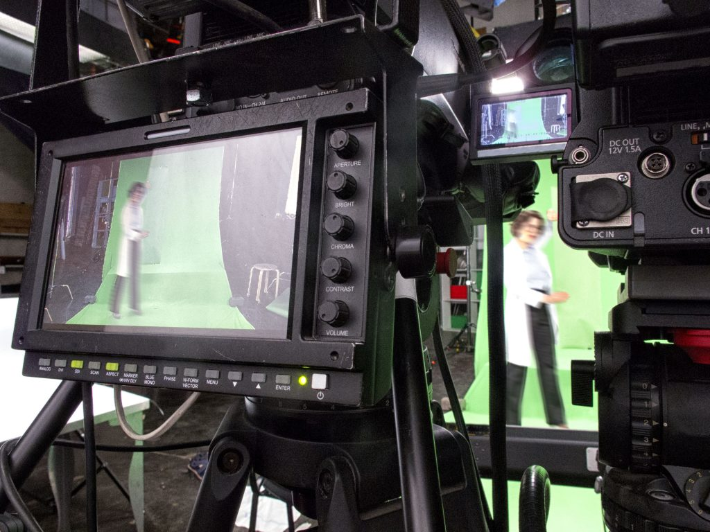 Professional digital video camera. cinematography in the pavilion