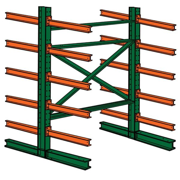 double face 72 w x 48 d x 144 h cantilever storage rack starter