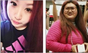 Yan Tai weighed about 100 pounds (left) when she began dating You Pan. Two years later she packed on more than 90 pounds (right).