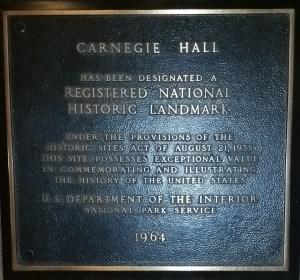 carnegie hall plaque