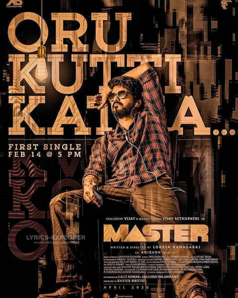 Master Oru Kutti Kathai Lyrics In English - Master Tamil 2020 Lyrics Download In PDF
