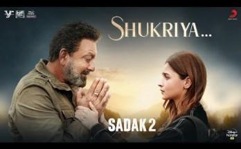 shukriya lyrics sadak 2 KK Jubin