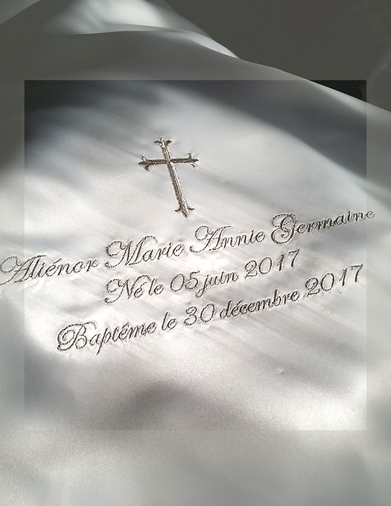 white baptism blanket with