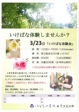 3月23日 いけばな体験会開催のお知らせ