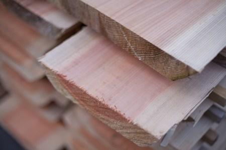 南三陸杉はピンクの木肌が美しい。