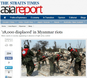 '18,000 displaced' in Myanmar riots