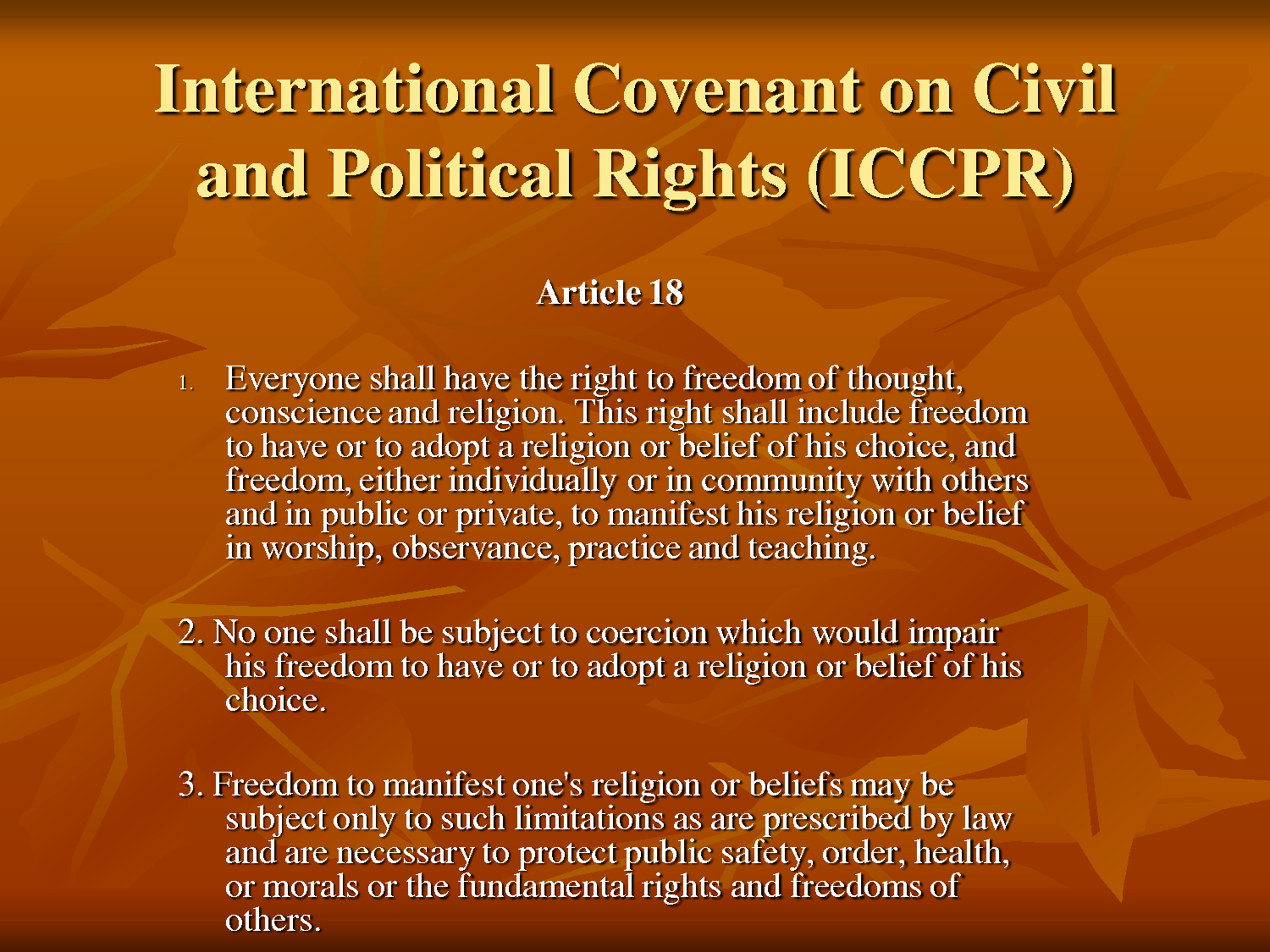 International Convenant on Civil and Political Rights