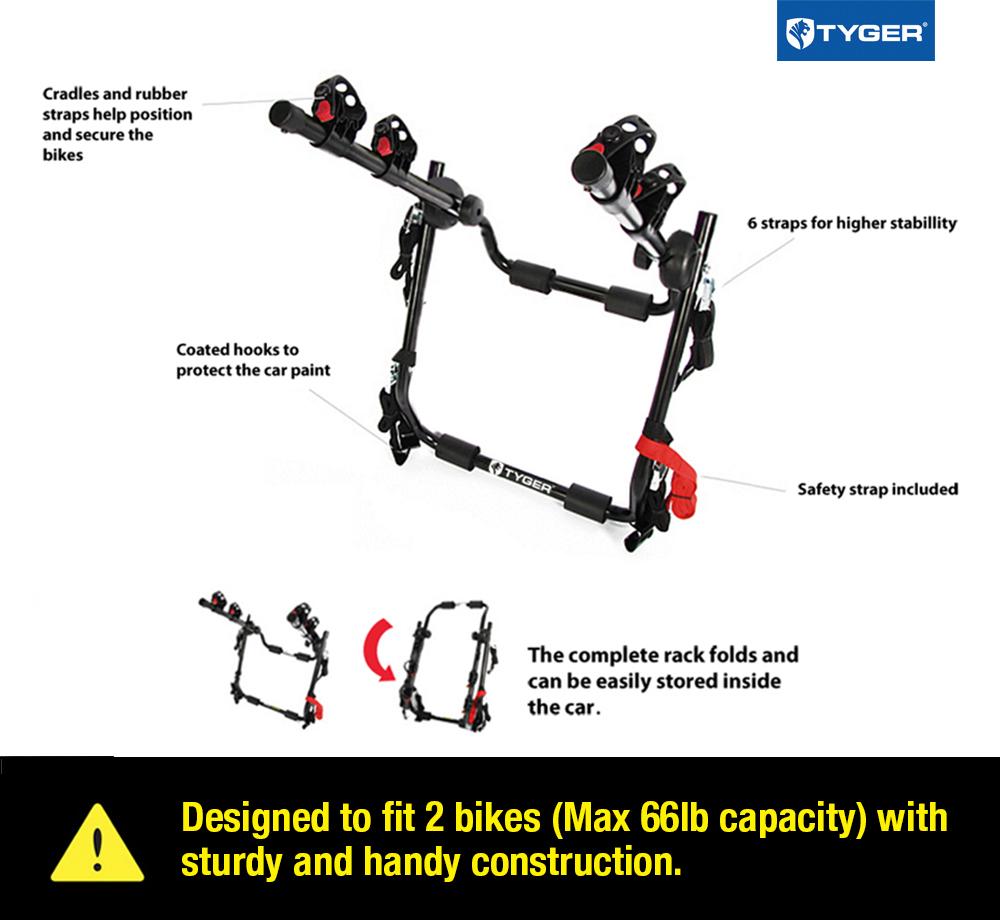 TYGER Deluxe 2-Bike Trunk Mount Black Carrier Rack Fits