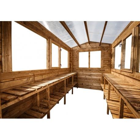 etageres en bois traite 2 niveaux pour serres en bois 6m gardy shelter