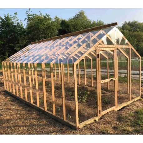 serre de jardin en bois lancelot 20m par helio montage inclus