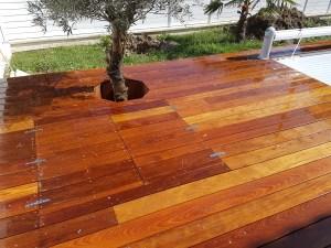 terrasse en bois exotique olivier
