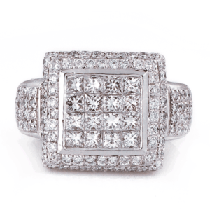 Princess Invisible Setting With Round Diamond Frame Ring