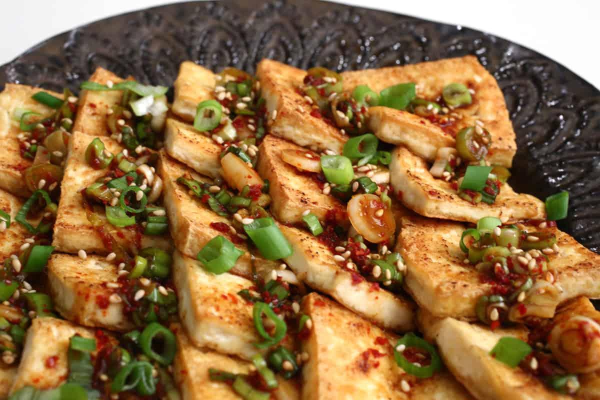 Pan fried tofu with spicy sauce Dububuchimyangnyeomjang