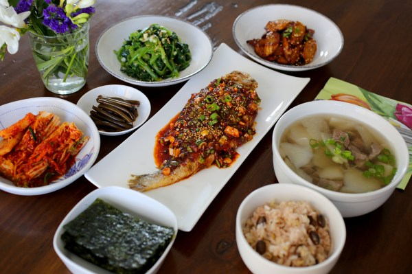 A typical Korean homestyle table setting Maangchicom