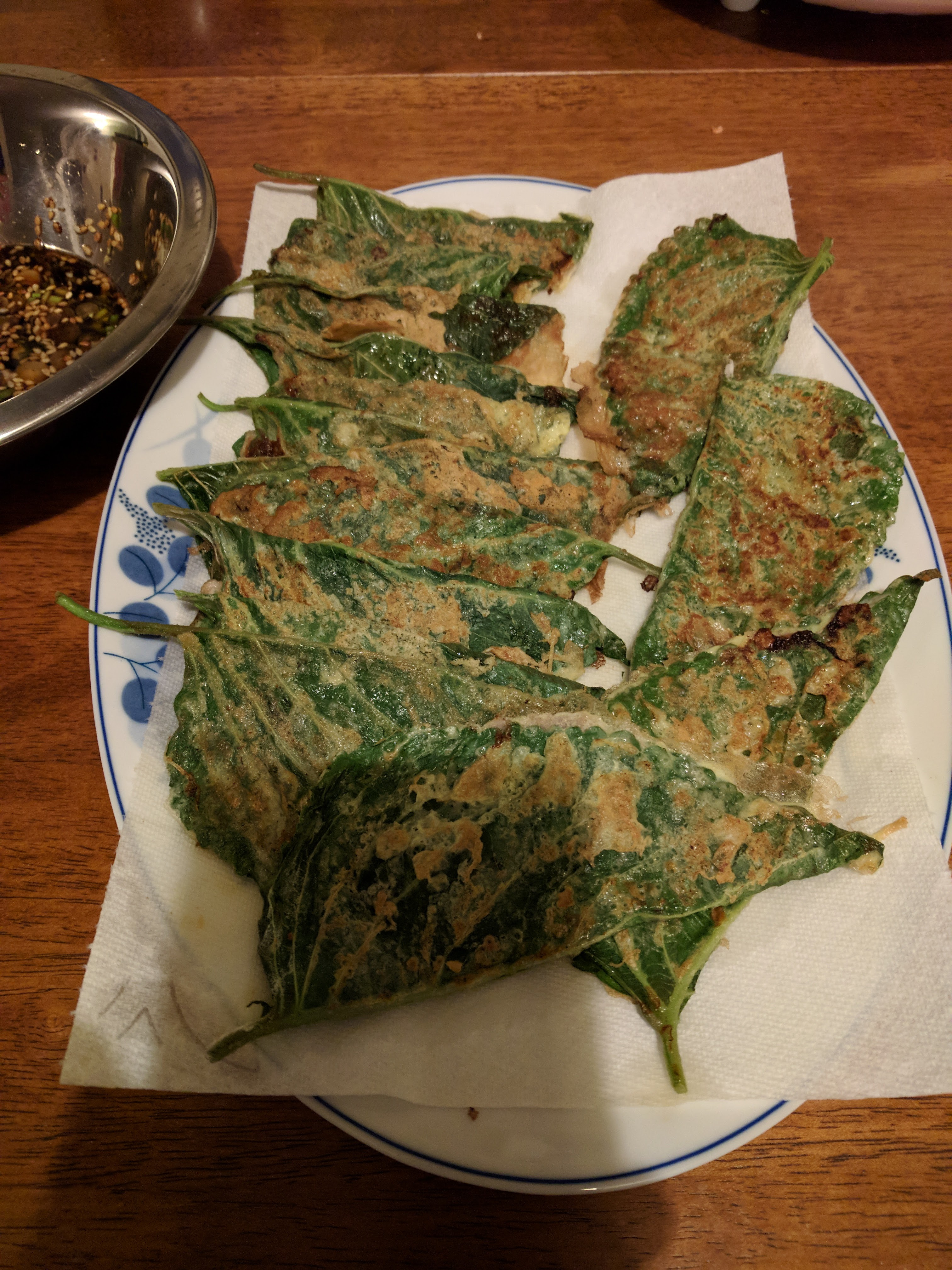 Panfried perilla leaves with fillings Kkaennipjeon