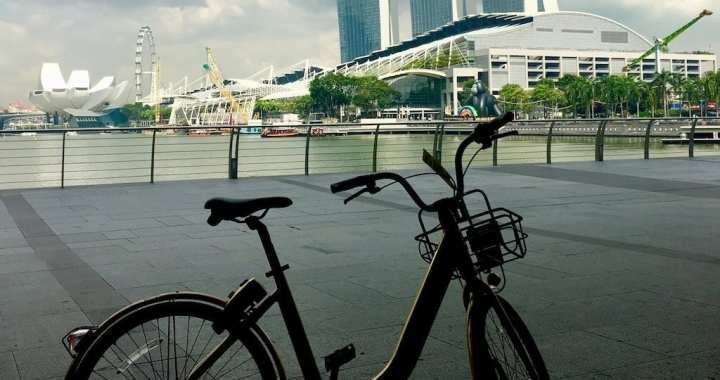 Fietsen door hartje Singapore