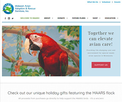 "Screen-shot of the new MAARS.org website showing a Green-Winged Macaw and the text ""Together we can elevate avian care"". Apollo was returned to MAARS when his caretaker became ill."