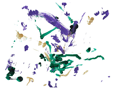 An abstract acrylic on canvas painting with green, purple, and gold streaks centered on a white background