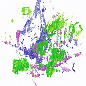 An abstract acrylic painting with purple, green, and pink streaks and dots