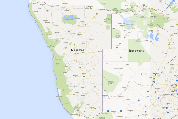 Map of Namibia and Botswana