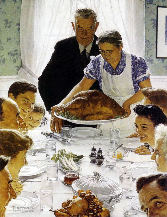 Happy Thanksgiving - Freedom From Want - Norman Rockwell