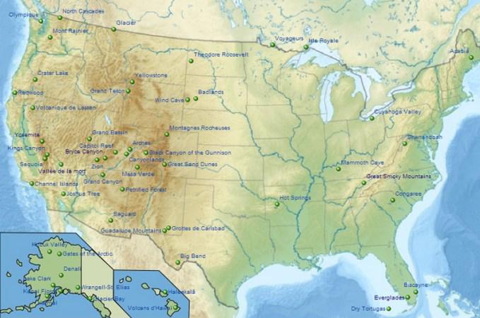 Carte Wikipedia - les parcs nationaux aux Etats-Unis