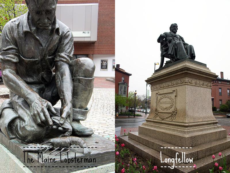Statues, Fisherman et Longfellow, Portland Maine