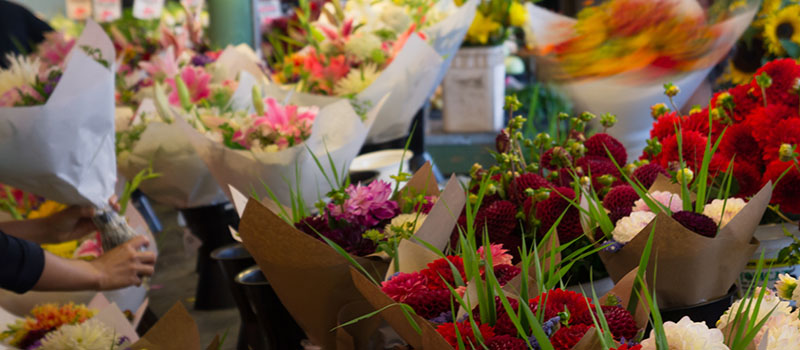 Le marché de Seattle - les fleurs
