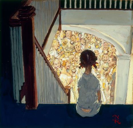 "Little girl looking downstairs at Christmas Party"" (1964) norman Rockwell"