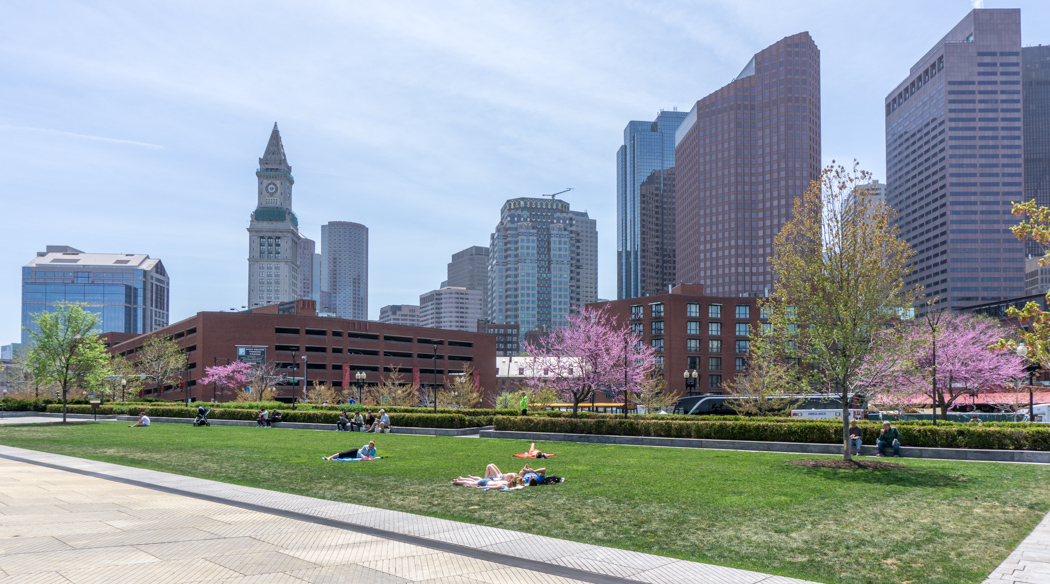 Greenway Boston - vue sur le downtown