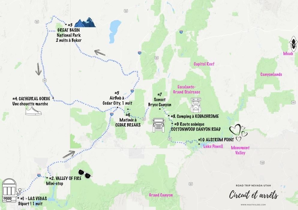 Road trip Utah Nevada Circuit