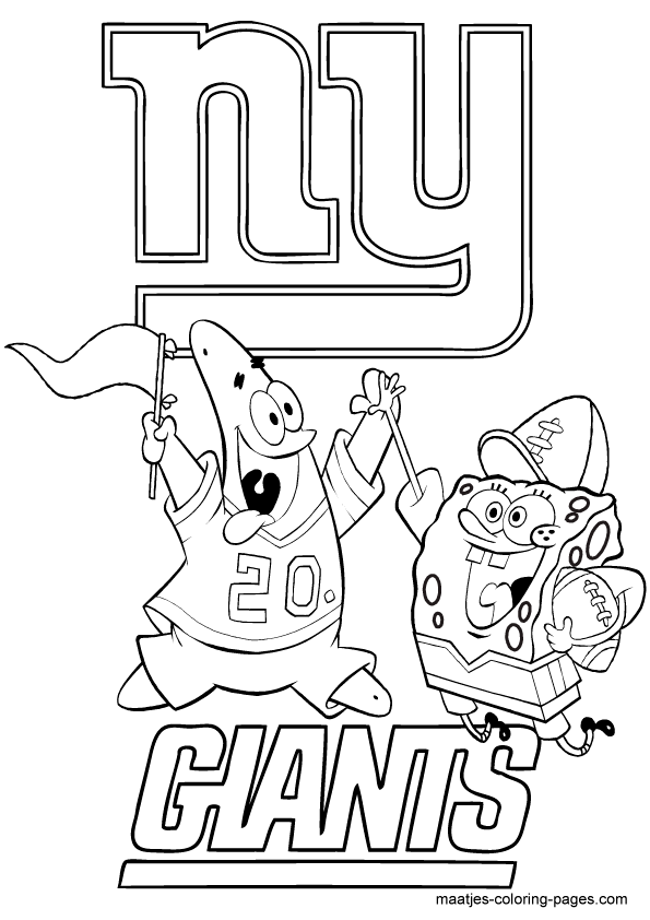 New York Giants Spongebob playing football free printable