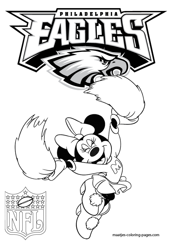 Philadelphia Eagles Minnie Mouse Cheerleader Coloring Pages