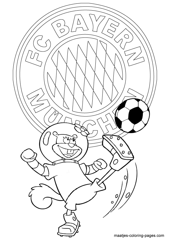 Bayern munchen sandy playing soccer free printable, mickey mouse coloring pages