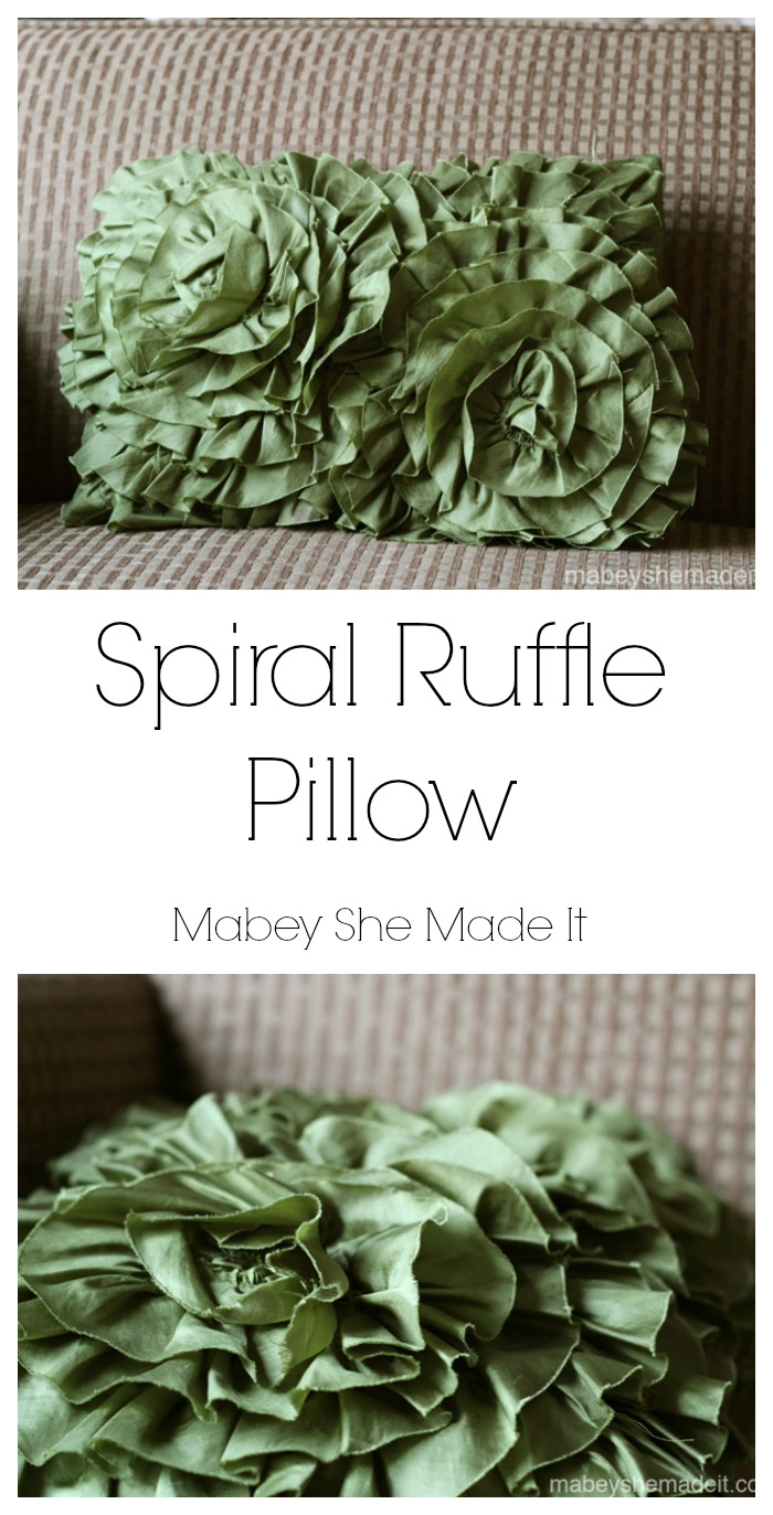 Spiral Ruffle Pillow | Mabey She Made It | #ruffle #pillow #homedecor #falldecor #fallcrafts #pieroneknockoff