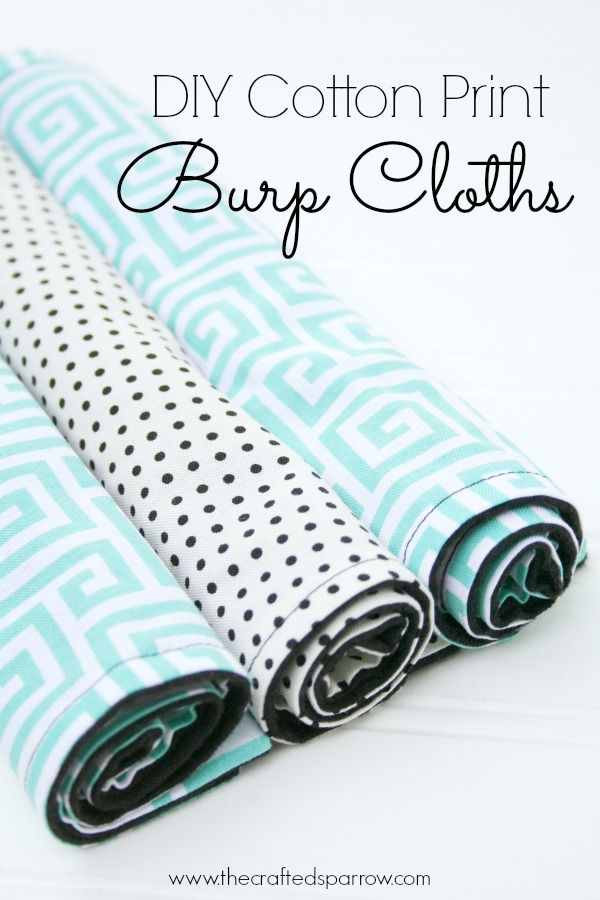 DIY Cotton Print Burp Cloths by The Crafted Sparrow    Mabey She Made It #nestingtonewborns #burpcloth #baby