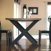 Mahogany and Steel Dining Table and Chairs