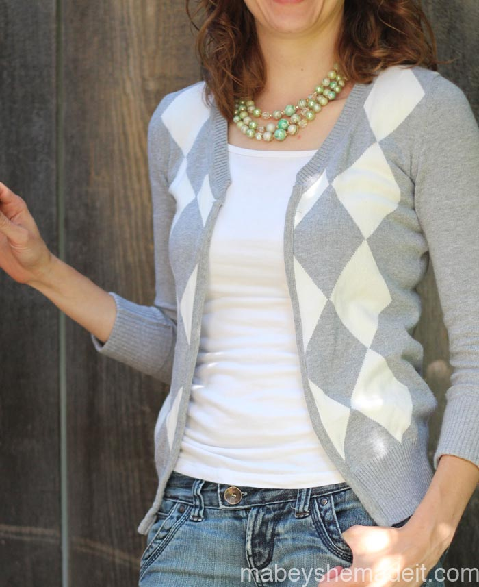 Sweater to Cardigan Refashion | Mabey She Made It #refashion #cardigan