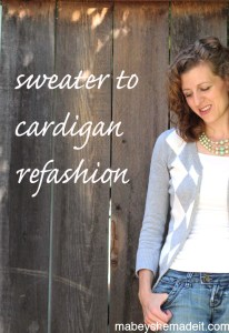 I love a good refashion, and this is so easy. Make any sweater into a cardigan with this easy sewing tutorial.