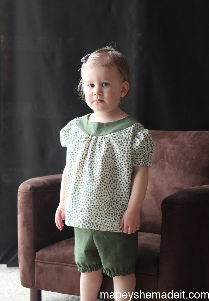 Shortie Nightgown and Bloomers sewn by Mabey She Made It | #pajamas #kidsclothes