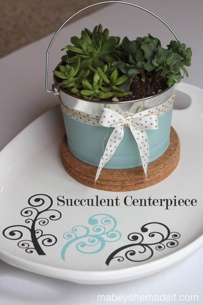Succulent Centerpiece | Mabey She Made It #succulent #centerpiece