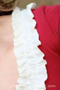 Ruffled Neckline T-shirt Refashion | Mabey She Made It | #refashion #upcycle #tshirtrefashion #ruffles