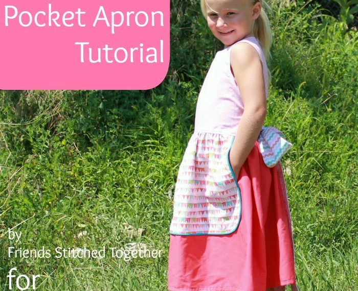 Pocket Apron Tutorial by Friends Stitched Together | Mabey She Made It | #sewing #sewingforkids #aprondress #pockets
