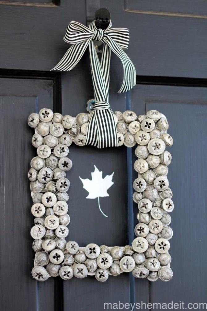 Metallic Acorn Wreath | Mabey She Made It | #wreath #autumn #acorn #homedecor