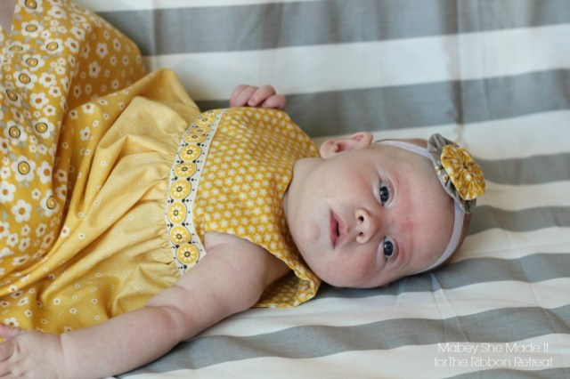 Y is for Yellow Yoked Dress with yo-yos   Mabey She Made It